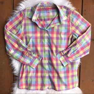 [FoxCroft] Plaid Button Down Blouse - Size 8